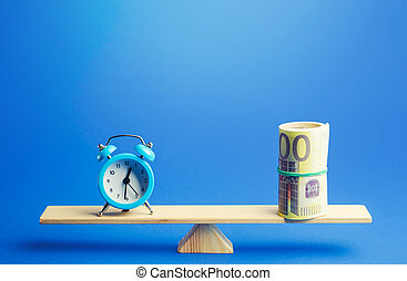Blue alarm clock and a bundle of euro on scales. Fair hourly wages. Profitability and return on investment. Rental. Balance between life and career. Time tracking. Deposit, money investment.