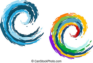 Blue and colorful ocean waves isolated on white background for travel and leisure concept design