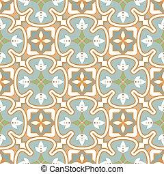 Blue and green pattern portuguese tile seamless pattern. Mediterranean ceramic tiles design pastel blue gold colors.
