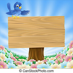 Blue bird wooden nature sign