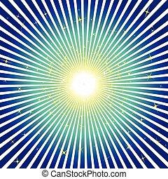 Blue burst background with stars