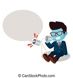 blue businessman shouting on can phone