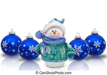 Blue Christmas ornaments with snowflakes isolated on white, Christmas Time Snowman