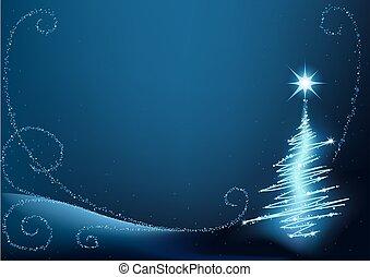 Blue Christmas Tree - abstract christmas illustration