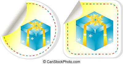 Blue gift box with a yellow bow sticker set