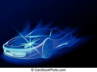 Blue Glowing Car
