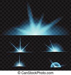 Blue Glowing lights on black transparent background. Vector illustration