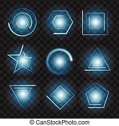 blue Glowing lights shape on black transparent background. Vector illustration