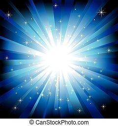 Blue light burst with sparkling stars