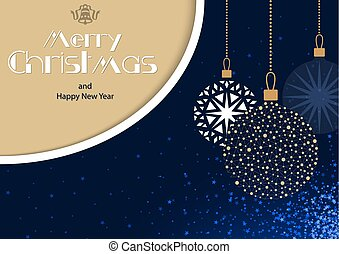 Christmas Greeting Card with Hanging Baubles