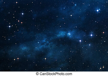 Deep space background with nebulae and bright stars