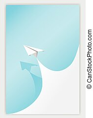 blue paper curl corner white and airplane background. vector illustrator design template.