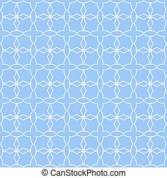 Blue quatrefoil lattice pattern.