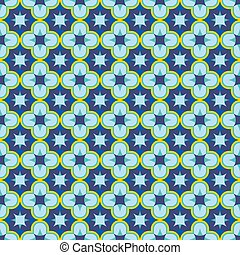 Blue seamless antique arabesque patern. oriental arabic or moroccan ornament mosaic. Can be used as bathroom tile, wallpaper, fabric texture, background. Stock vector illustration isolated on white.