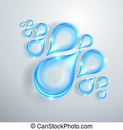 Blue shiny water drops