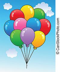 Blue sky with cartoon balloons 1