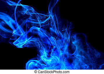 large abstract cloud of blue smoke streaming up
