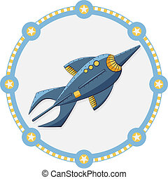 Blue space rocket with a round frame - vector