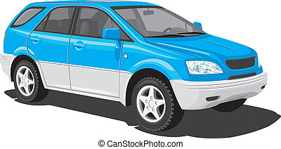 Vector isolated SUV on white background, without gradients