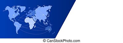 Blue white communication banner with world map