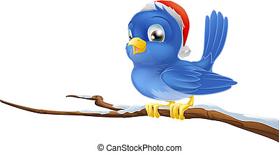 Bluebird in Christmas hat