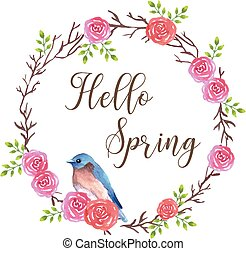 Bluebird sitting on a rose flower wreath with spring wishes