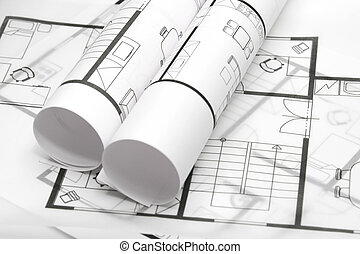 Blueprints of architecture interior on white background - estate agency