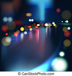 Blurred Defocused Lights on Rainy City Road at Night, vector Eps 10 illustration.