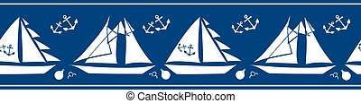 Boats, anchors, buoys vector seamless border. Navy blue white banner with yachts and sailing equipment tools and striped edges. Duotone marine nautical summer concept design. For ribbon, trim edging