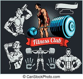 Emblem bodybuilder with a barbell and drinking man on a dark background - vector set