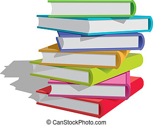 Stack of multicolor books on white background. Vector Illustration.