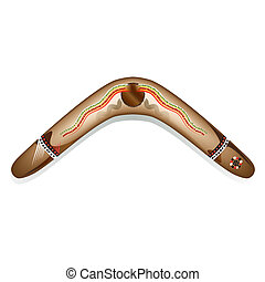 A vector illustration of a painted Aboriginal boomerang
