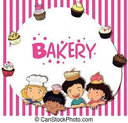 Border design with children and bakery illustration