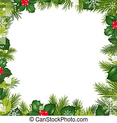 Borders With Snowflakes And Holly Berry, Vector Illustration