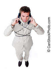 Bored businessman tangle up in phone wires
