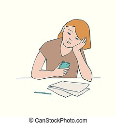 Bored girl vector illustration of young uninterested woman sitting at table and leaning her head on her arm.