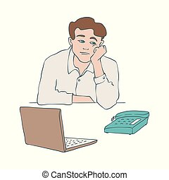 Bored man vector illustration of young male character sitting at table and leaning his head on his arm.