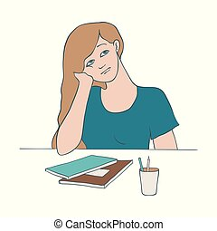 Bored woman vector illustration of young female character sitting at table and leaning her head on her arm.