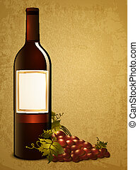 bottle of red wine with red grape over vintage grunge background