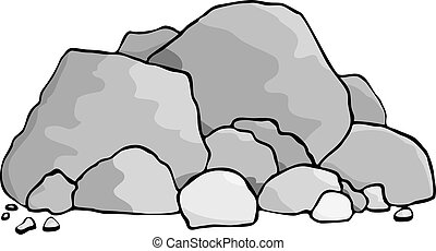 A pile of boulders and rocks.