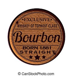 Label stamp with text Bourbon on vector illustration