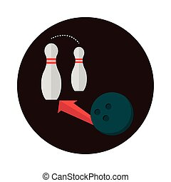 bowling ball and pins with arrow game recreational sport block flat icon design