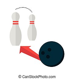 bowling ball and pins with arrow game recreational sport flat icon design