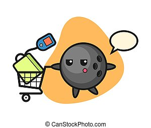 Bowling ball with a shopping cart