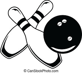 Illustration of a black bowling ball and two bowling pins in a simple graphic style.