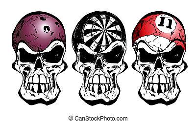 illustration of three skulls