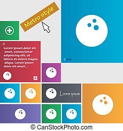 Bowling game, ball icon sign. buttons. Modern interface website buttons with cursor pointer. Vector