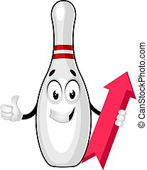 Bowling pin with arrow, illustration, vector on white background.