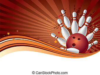 bowling sport design element, abstract background