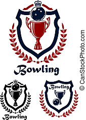 Bowling sport emblems and icons